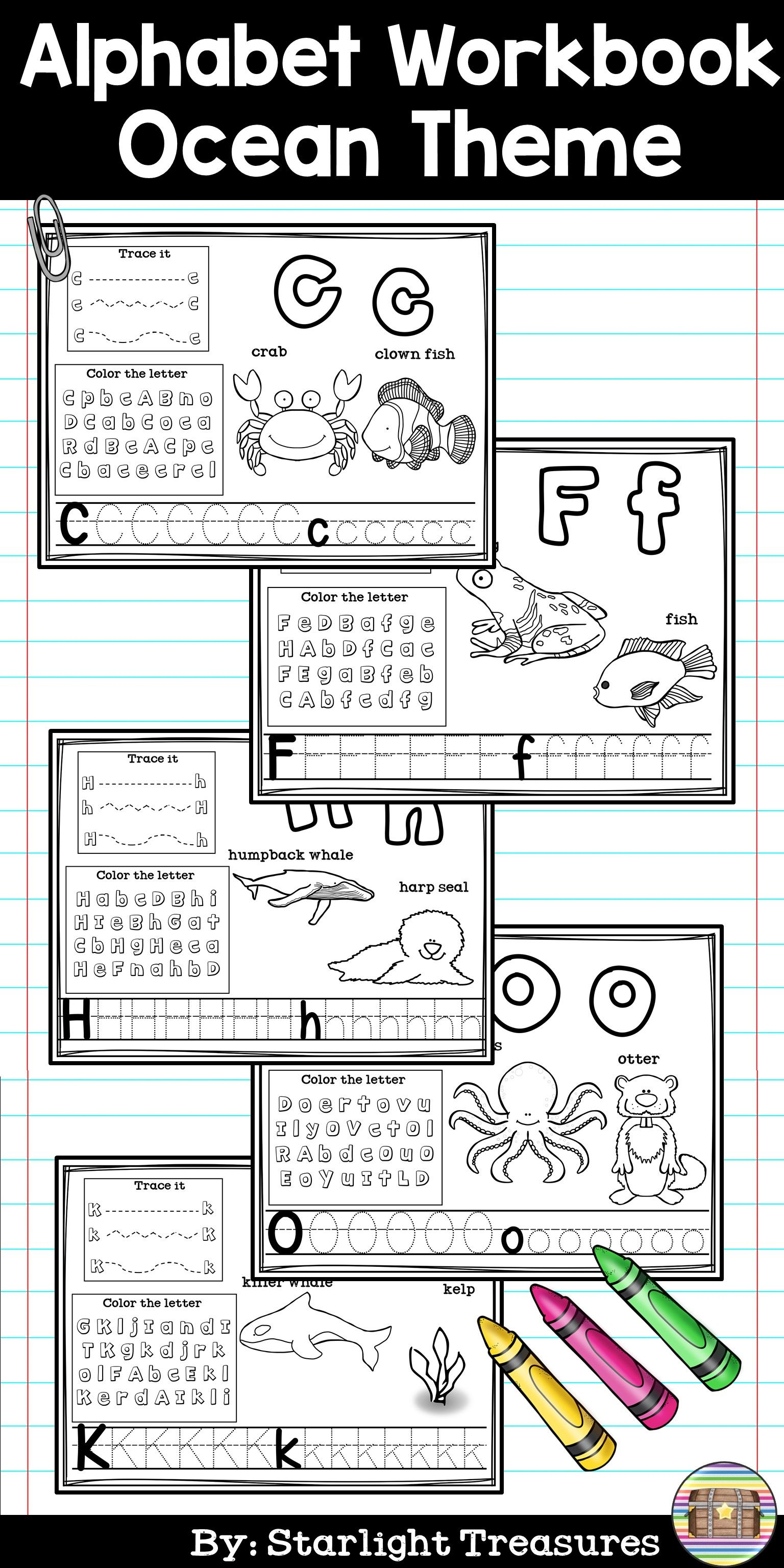 Alphabet Workbook Worksheets A Z The Ocean Theme With