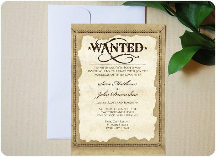 Western Wedding Invites: Urbanity Studios Old West Western Themed Wedding