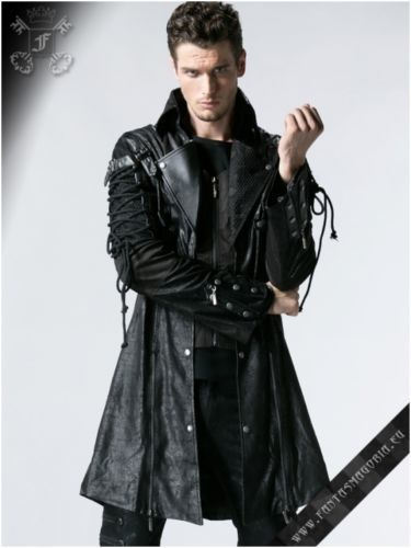 85f31be6a36 Mens-Punk-Rave-Steampunk-Rock-Goth-Poison-Black-Faux-Leather-Jacket-Y-349