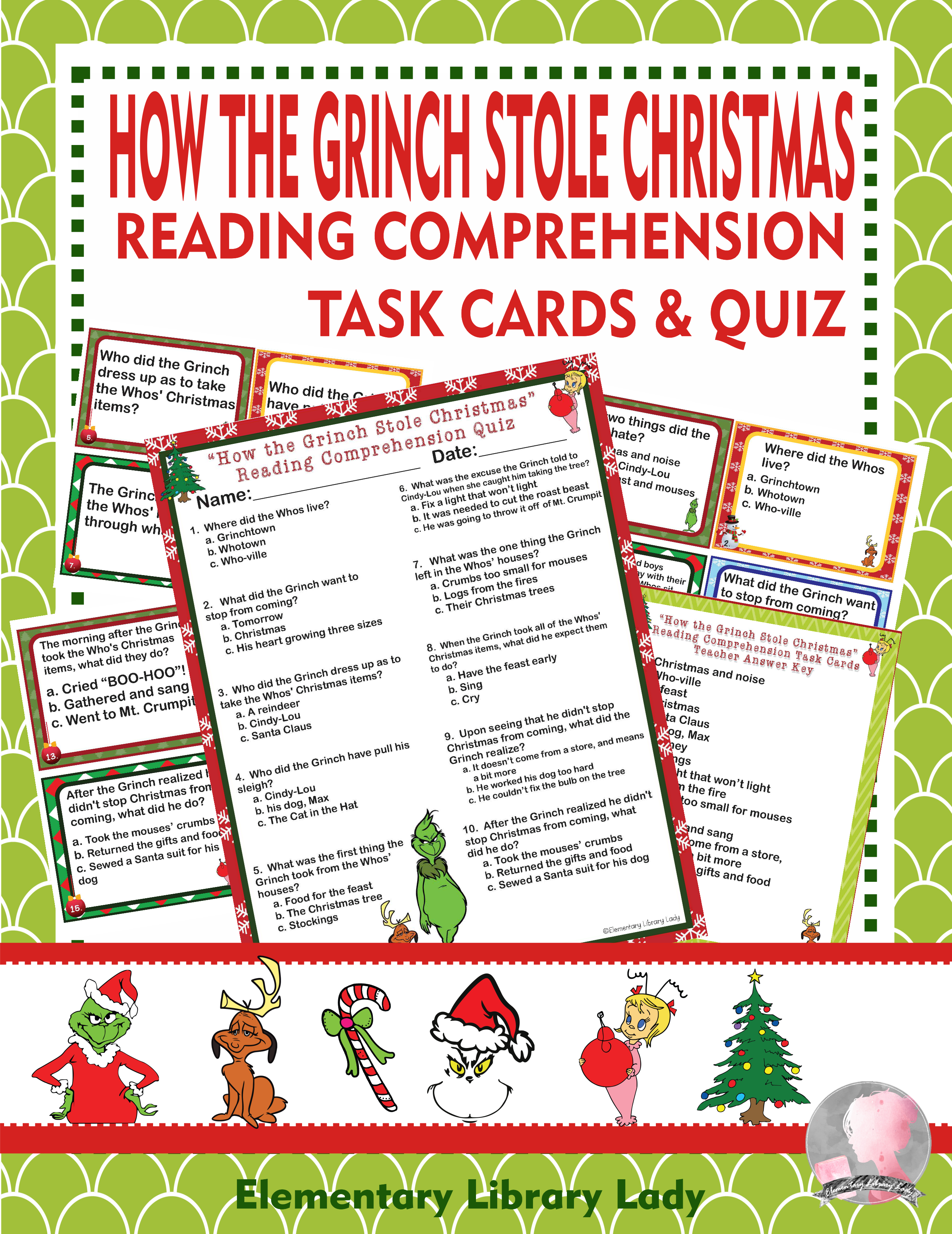 How The Grinch Stole Christmas Activities Reading Comprehension Task C Reading Comprehension Task Cards Christmas Reading Comprehension Reading Comprehension