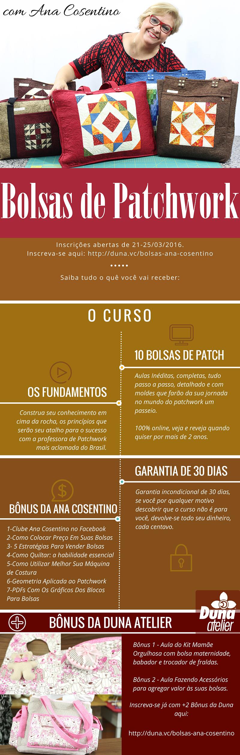 Curso Bolsas De Patchwork da Ana Cosentino: http://duna.vc/bolsas-ana-cosentino Inscrições abertas apenas até 25/03/16 beijo