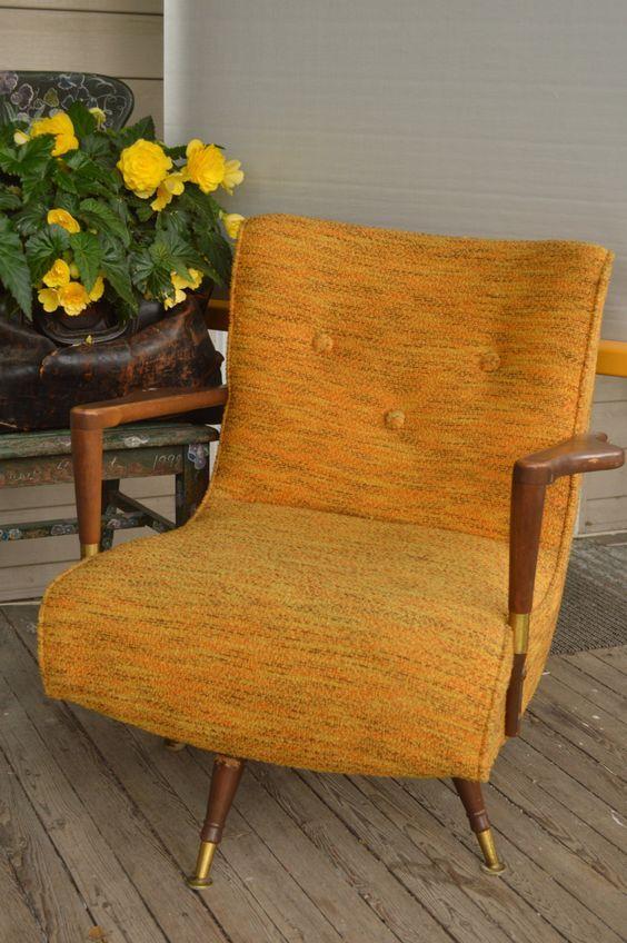 Remarkable Mid Century Modern Swivel Rocker Gold By Retrorrific On Etsy Machost Co Dining Chair Design Ideas Machostcouk
