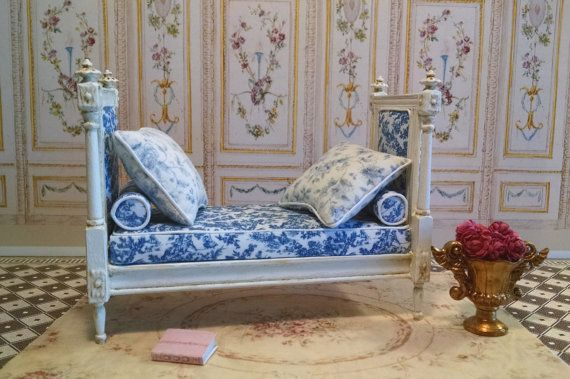 Marie Antoinette French Style Daybed Miniature by FrenchVellum. Dollhouse Miniature Furniture.