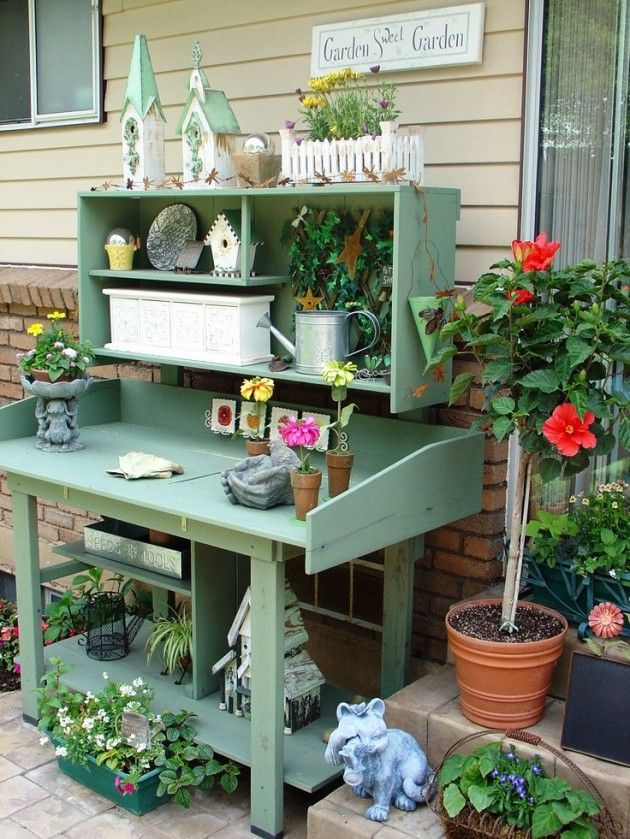 Wonderful Garden Potting Bench Ideas Part - 10: 25 Cool DIY Garden Potting Table Ideas