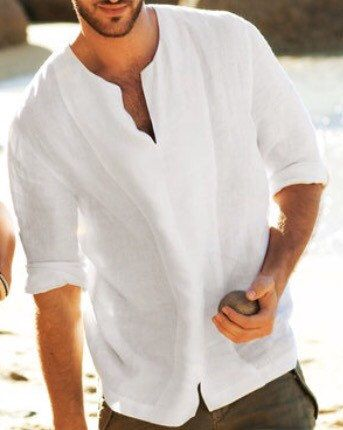 759bc6cc56 Man white linen shirt beach wedding party special occasion birthday ...