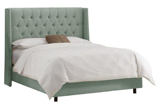 Alex Tufted Wingback Bed, Mint Linen | Camas, Menta y Azul
