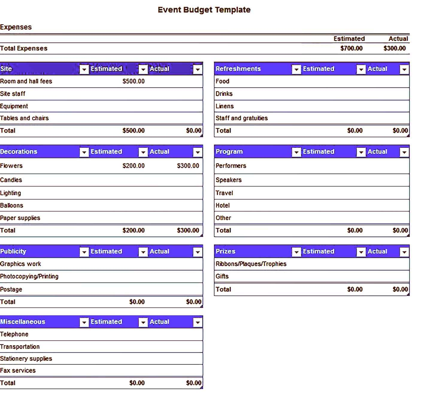 Event Budget Template Sample
