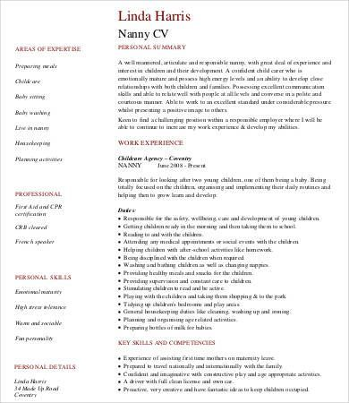 12+ Babysitter Resume Templates Free Printable Word  PDF Resume