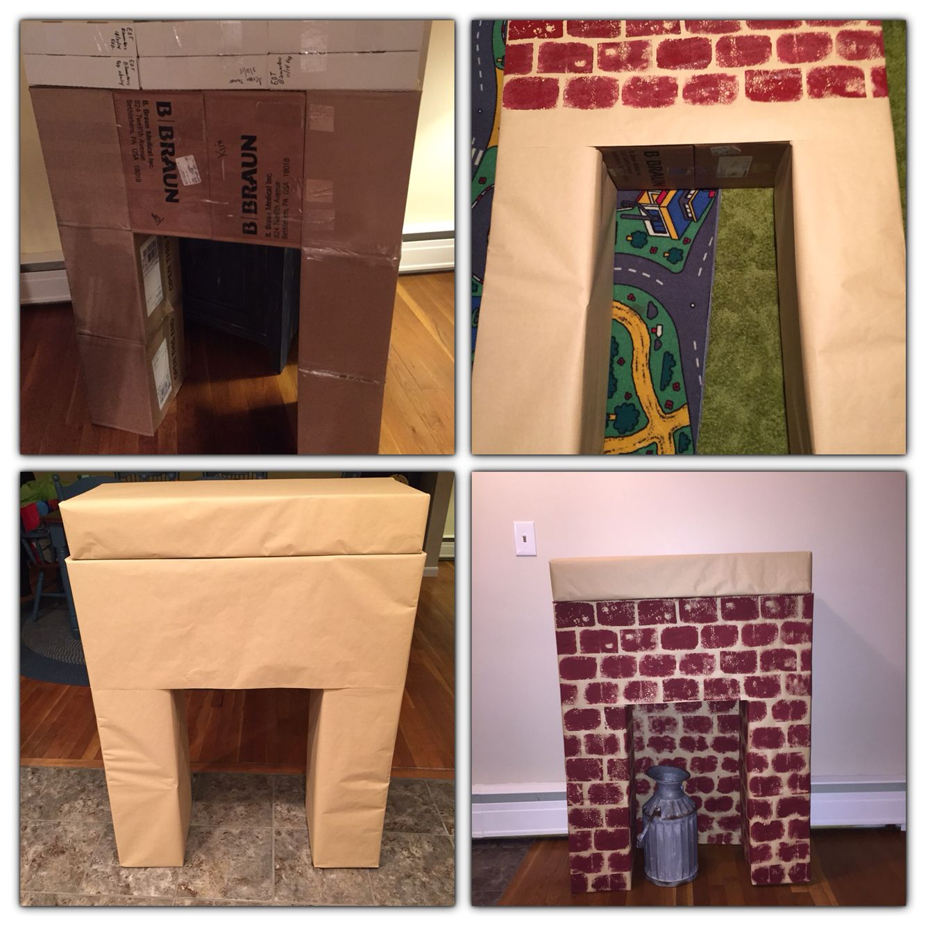 Diy fireplace for Christmas Taped some boxes together covered it