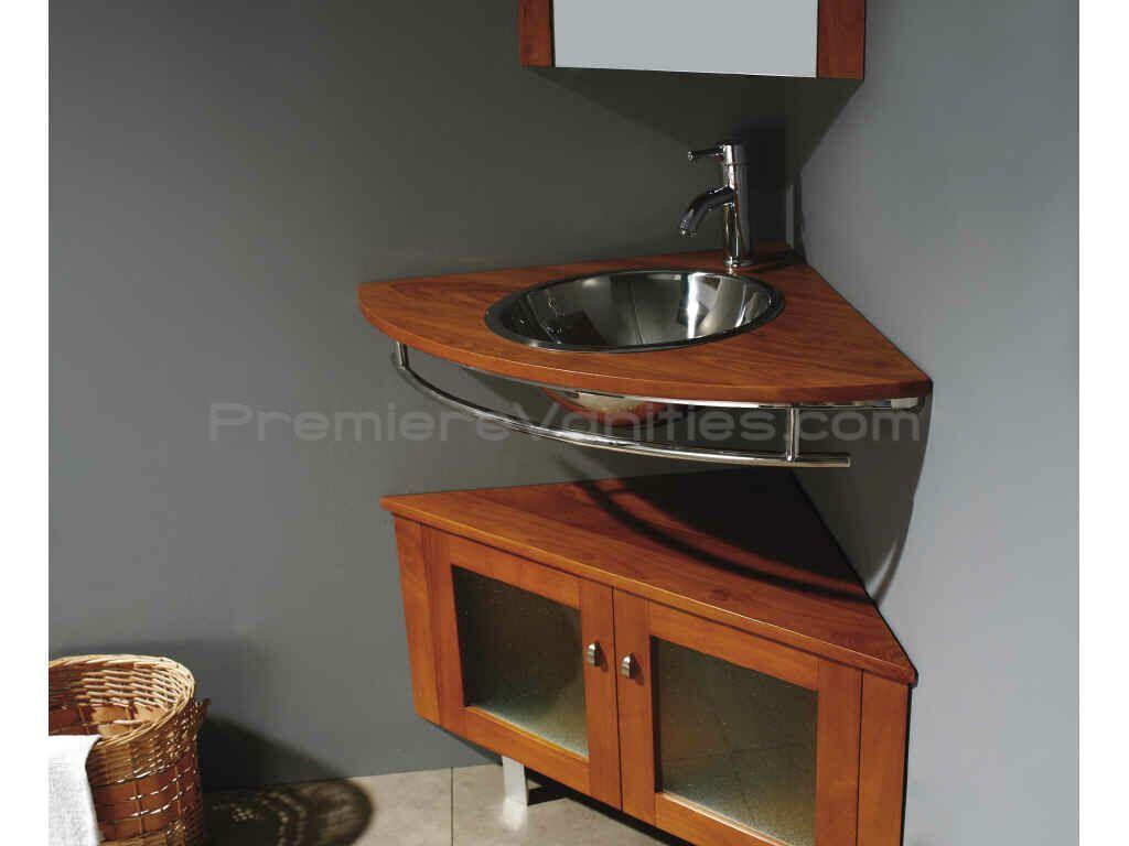 Corner Bathroom Vanity With Maple Finish Single Sink Bathroom