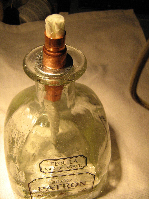 Patron Silver Tequila Bottle Oil LampTiki Torch