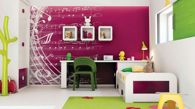 wandfarbe musik noten wandgestaltung im m dchenzimmer kinderzimmer babyzimmer jugendzimmer. Black Bedroom Furniture Sets. Home Design Ideas