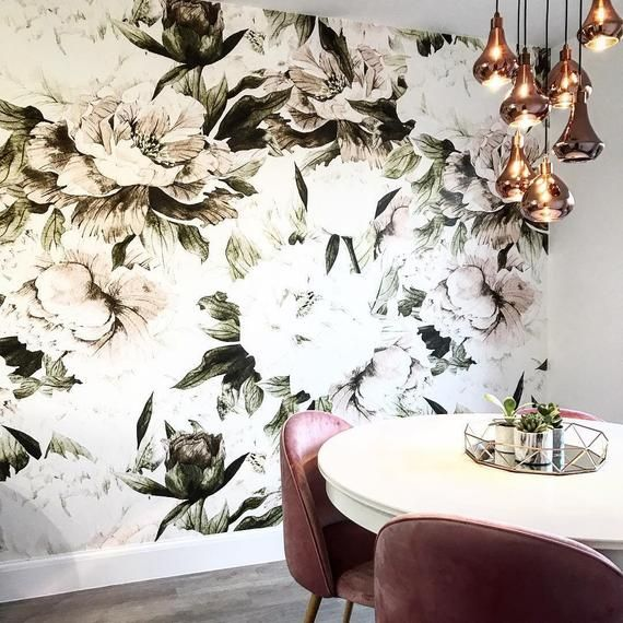 Dusty Peony Floral Wallpaper Removable Blush Flowers Etsy Wall Murals Pink Peonies Wallpaper Floral Wallpaper