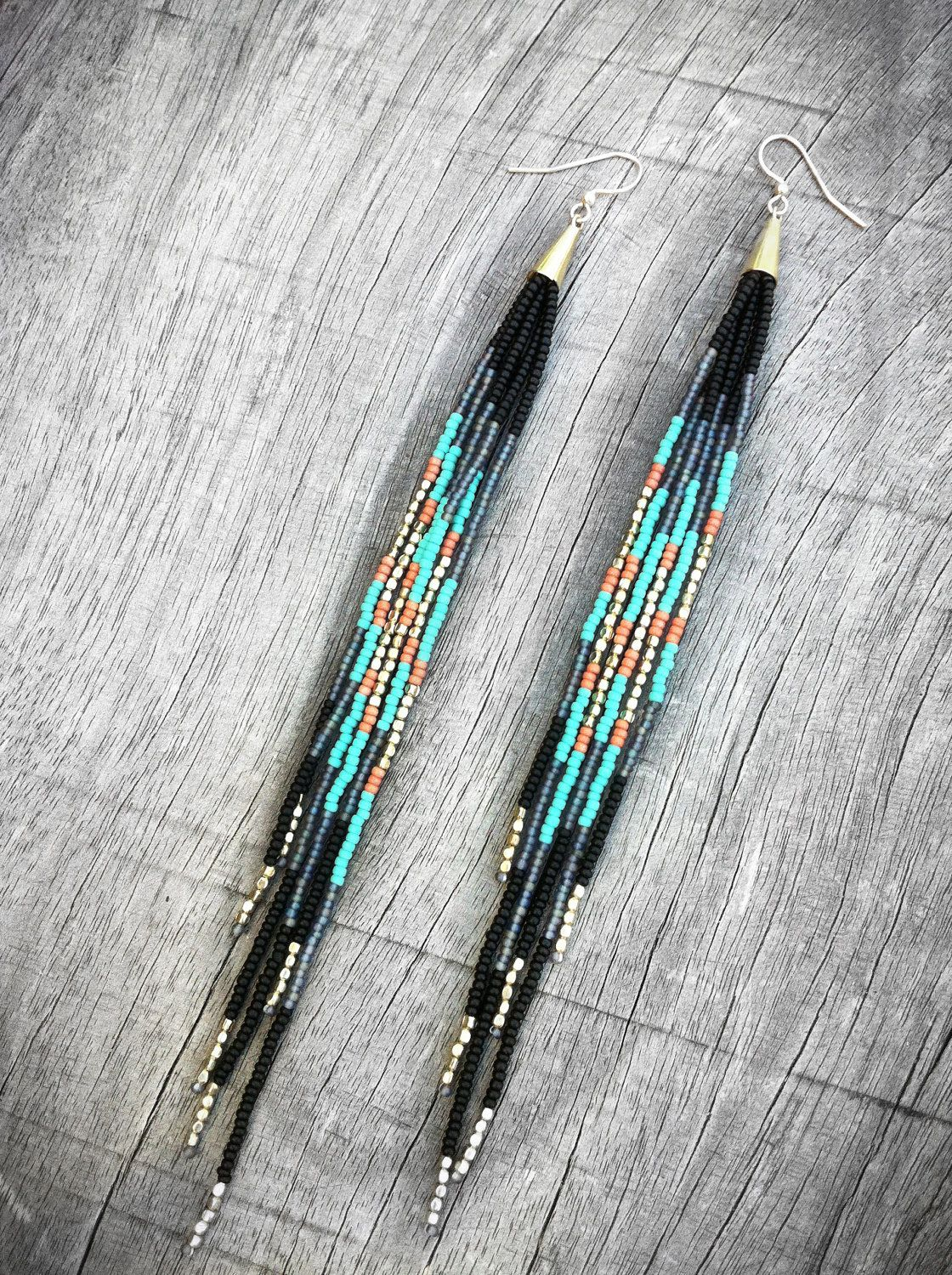 Long Beaded Fringe Seed Bead Earrings Shoulder Dusters In Black Turquoise Grey Salmon And Silver Free People Native Inspired
