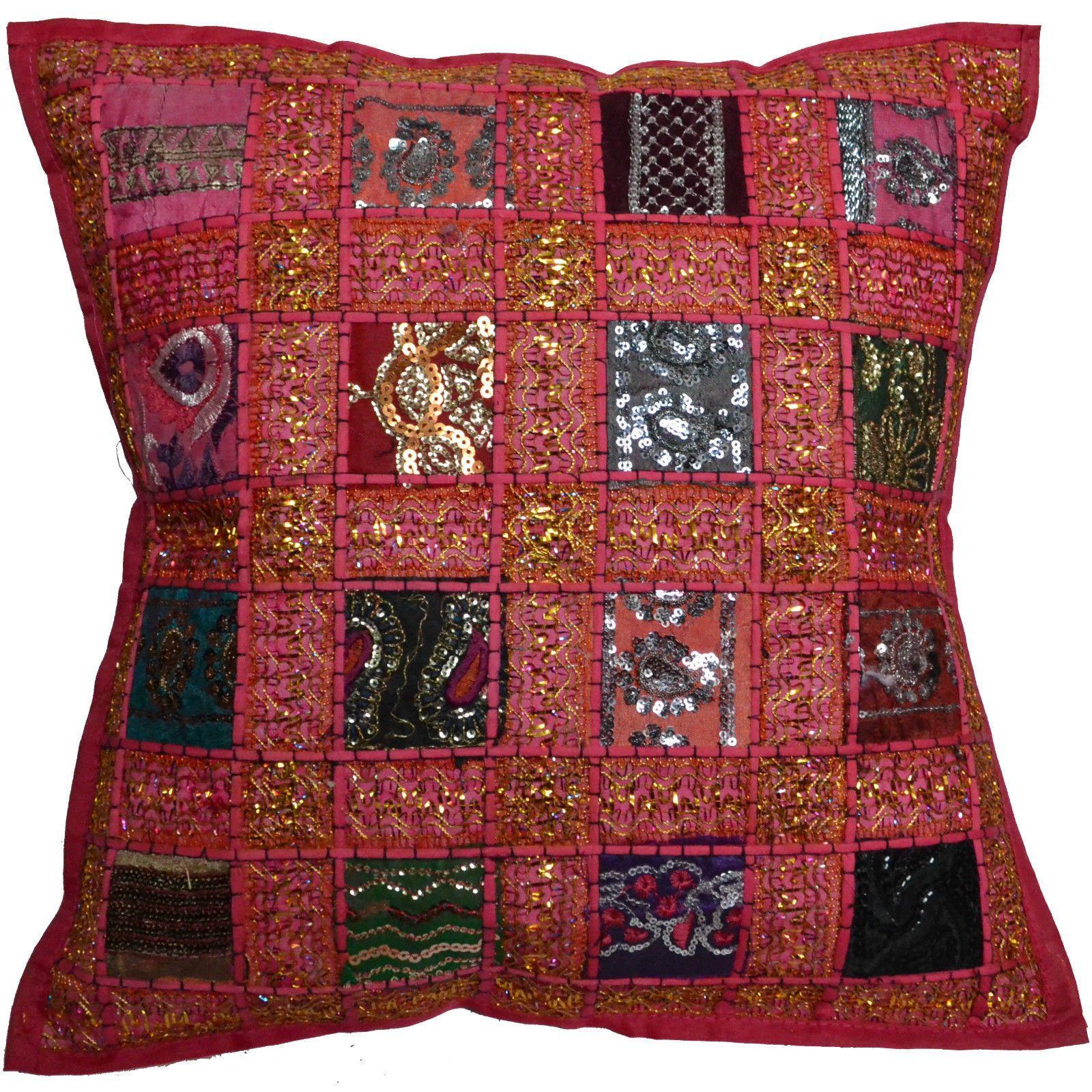 Funda de coj n bordado sari reciclado estilo estilo indio marroqu 40cm ebay bohemio pinterest - Cojines indios ...