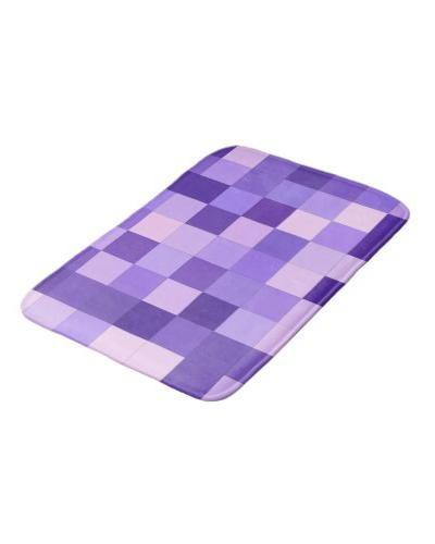 Pastel Purple Squares Bathroom Mat