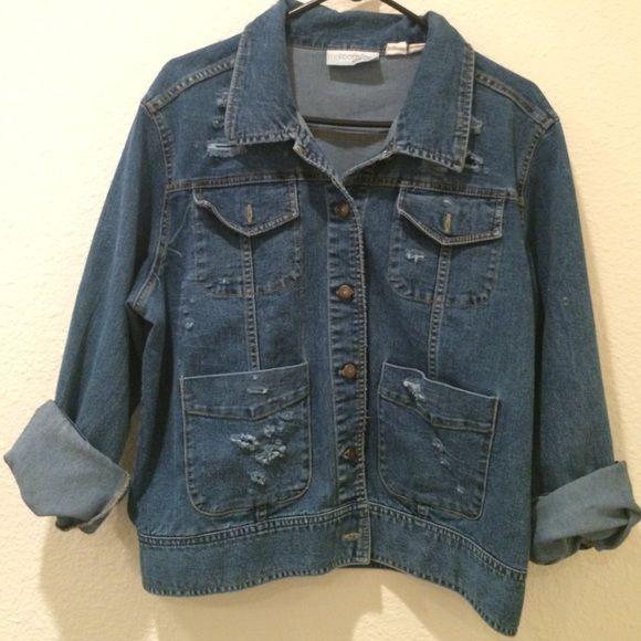 Vintage denim jacket Destroyed vintage denim jacket, fits large... Not LF, just using for exposure LF Jackets & Coats Jean Jackets