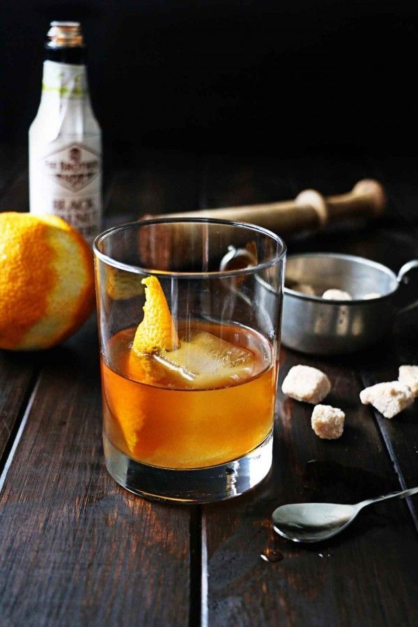 black walnut old-fashioned recipe. A Christmas cocktail idea.