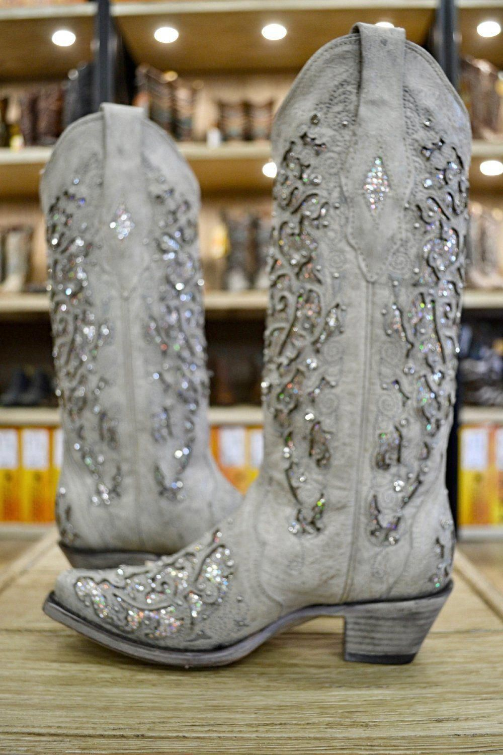 Corral Ladies White Glitter Inlay And