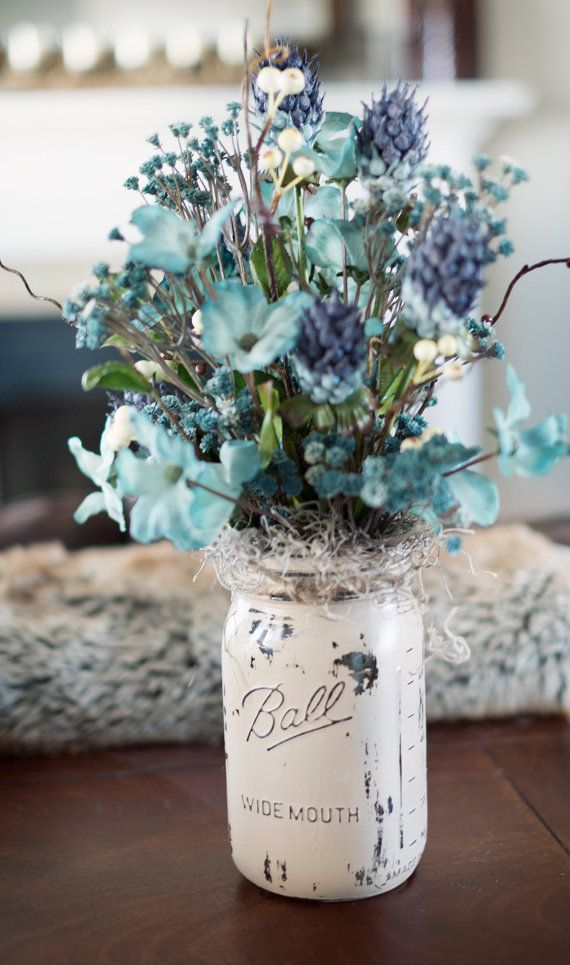 Mason Jar Painted Vase With Blue Silk Flowers By