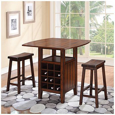 3 Piece Wine Rack Pub Set At Big Lots I Wish This Was A Table For 4 With Chairs That Have Backs Kj Pub Set Home Remodeling My Home Design