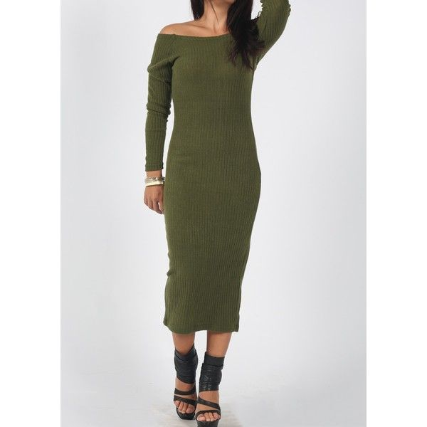 Rotita Olive Ribbed Off The Shoulder Long Sleeve Bodycon Midi Dress ($20) ❤ liked on Polyvore featuring dresses, army green, ribbed bodycon dress, long sleeve off the shoulder dress, off shoulder dress, long sleeve sheath dress and off the shoulder dress