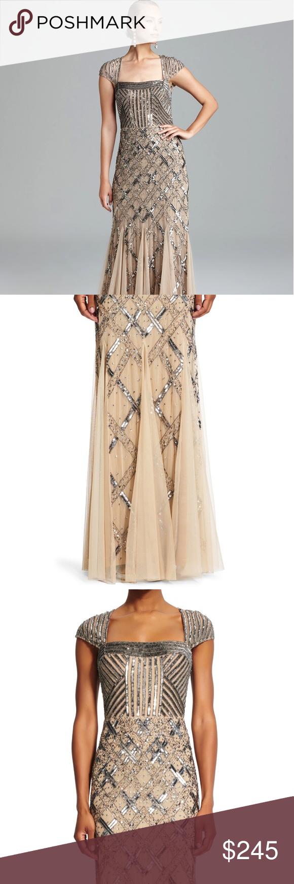 Adrianna papell beaded gown brilliant beaded ribbon designs splash