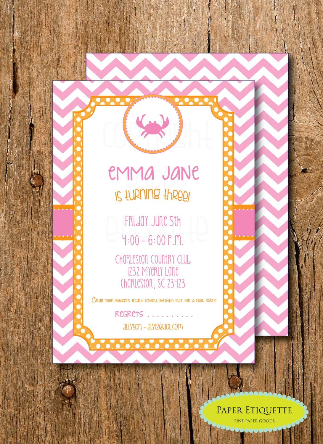 Preppy pink crab chevron baby shower birthday party or crab feast preppy pink crab chevron baby shower birthday party or crab feast crab boil invite print your own invitation by paperetiquette on etsy filmwisefo