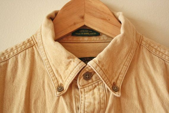 Tan Denim Work Shirt Vintage Mens Medium by flickaochpojke on Etsy, $35.00