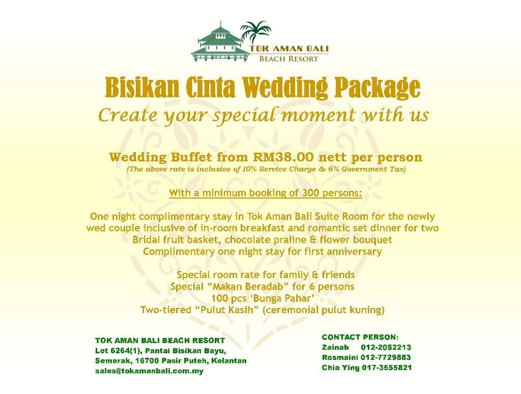 Extravagant Your Wedding Receptions Buffet At Tok Aman Bali Beach Resort Malaysia From RM38