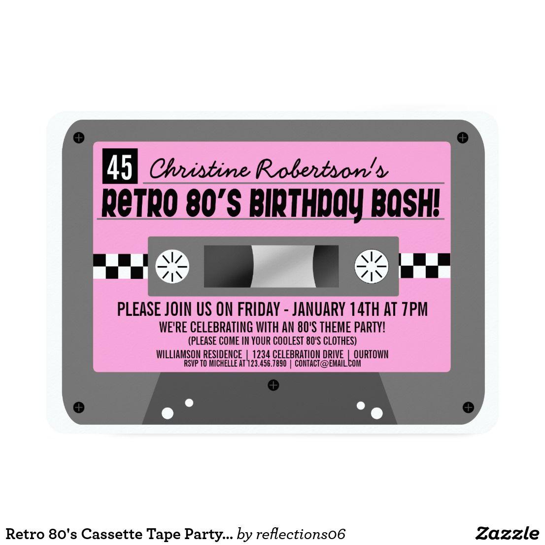 retro 80 s cassette tape party invitations in 2018 happy
