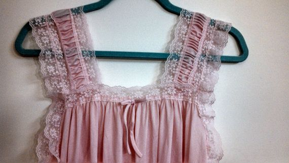 Vintage Baby Pink Lace Nightgown Romantic by BabyBirdsCoffeeCup, $18.00