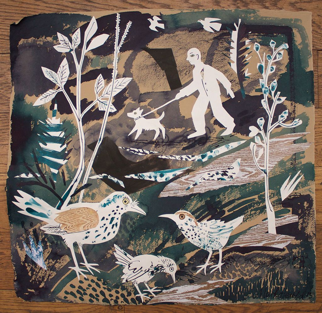 """""""A Walk In The Park"""" - one of the mixed media collages that Mark Hearld will be exhibiting as part of York Open Studios 2015 http://allthingsconsidered.co.uk/2015/04/mark-hearld-5.html"""