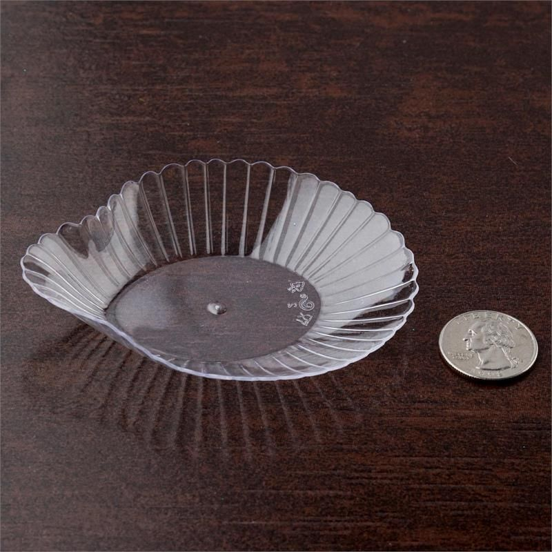 24 Pack - Clear 3.75  x 3  Vintage Seashell Disposable Dessert Plate & 24 Pack 3.75