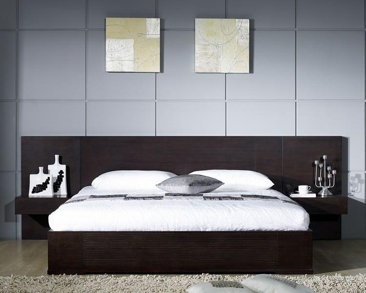 . Echo Modern Platform Bed with 3D Engraved Accents   Bedroom   Modern