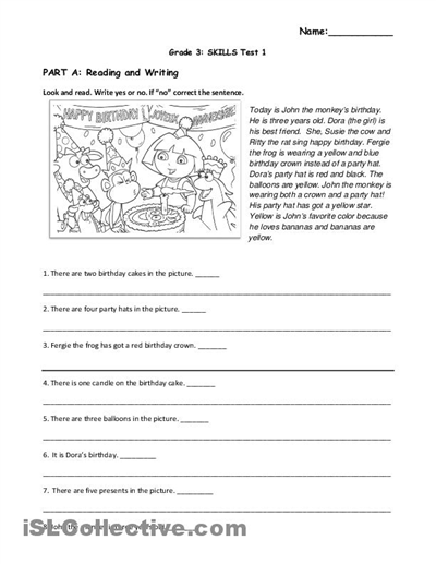 Free Reading Comprehension Worksheets For Grade 1 #1 | Language ...
