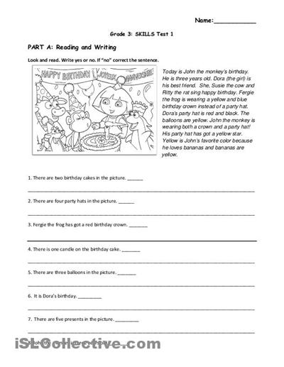 Grade 3 Reading Comprehension Worksheets Free Worksheets Library ...