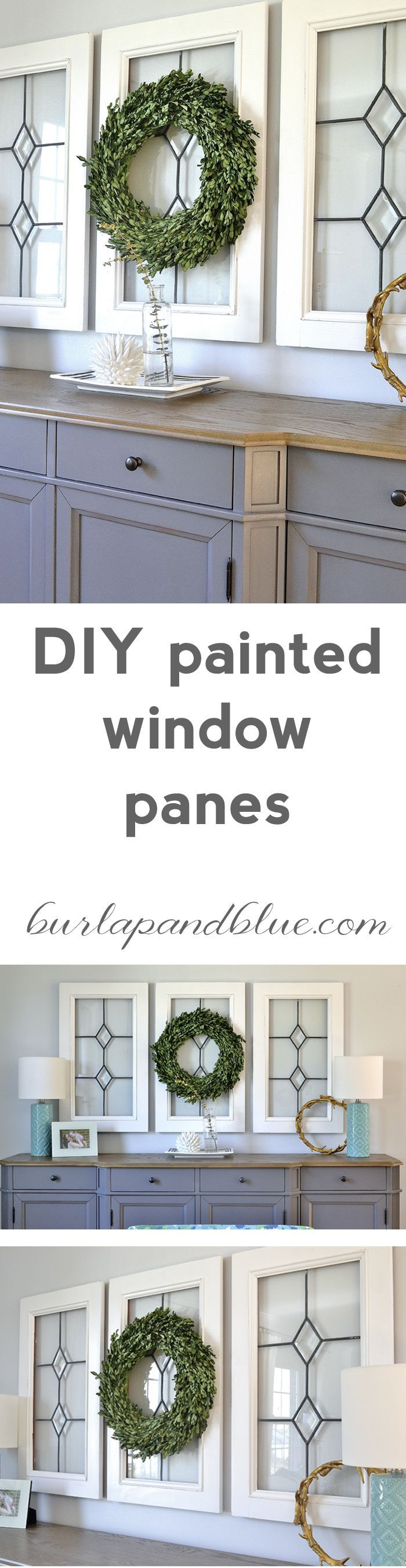 Window frame decor with wreath  window pane decor how to use old window frames  for the home
