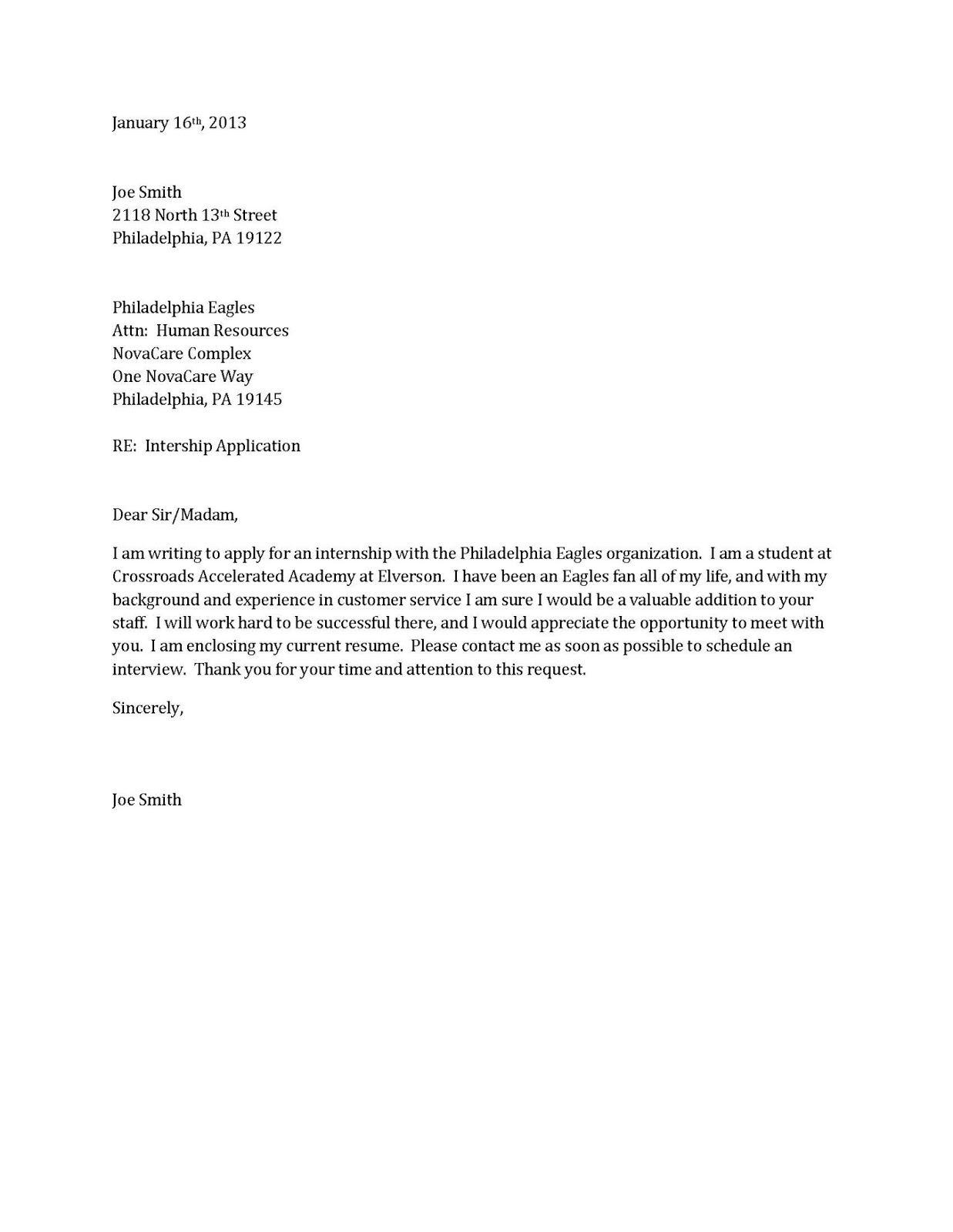 Example Of Simple Resume Cover Letter