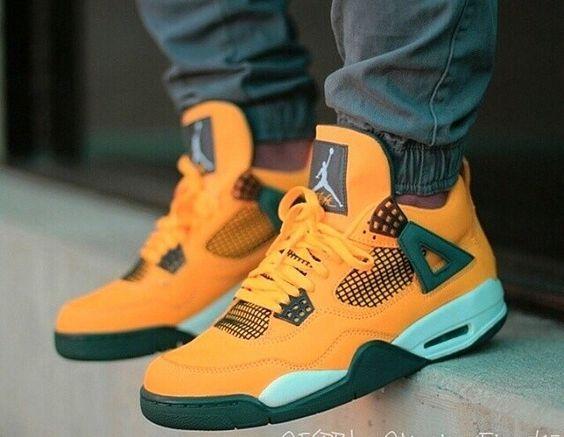 aff06baa2de08 Air Jordan 4 Retro Custom orange/green #amazon #fashion #nike ...