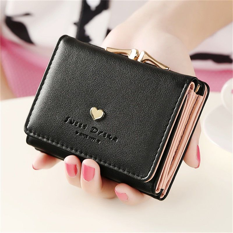 Womens Leather Small Mini Wallet Card Holder Zip Coin Purse Clutch Handbag Black