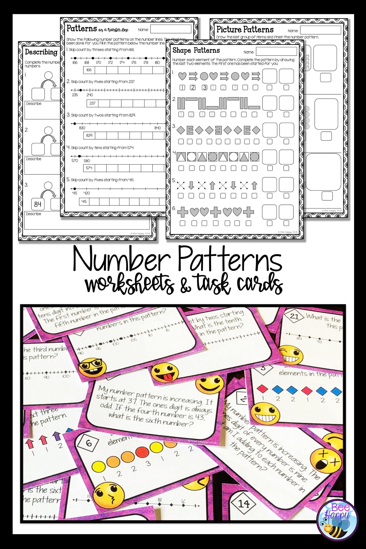 Australian Curriculum Aligned Worksheets And Task Cards For Grade 2 Describing Patterns Cre Number Patterns Worksheets Australian Curriculum Pattern Worksheet