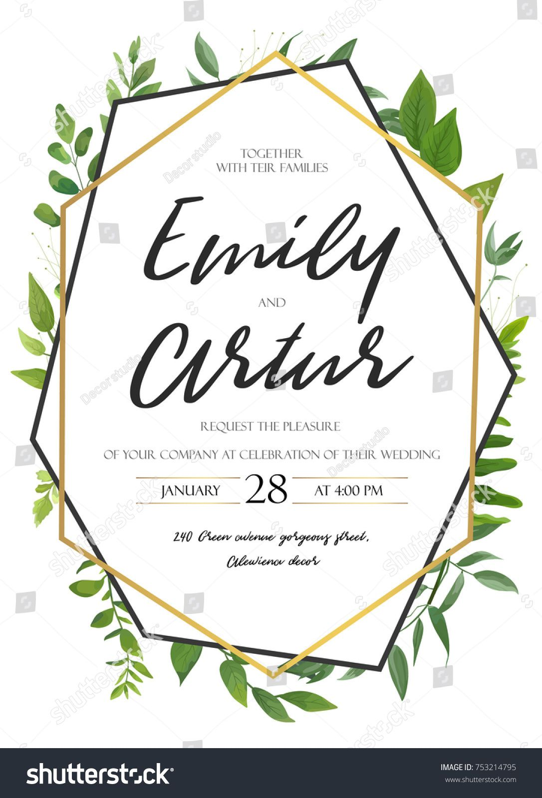 Vector Wedding Invite Invitation Save The Date Floral Card Design