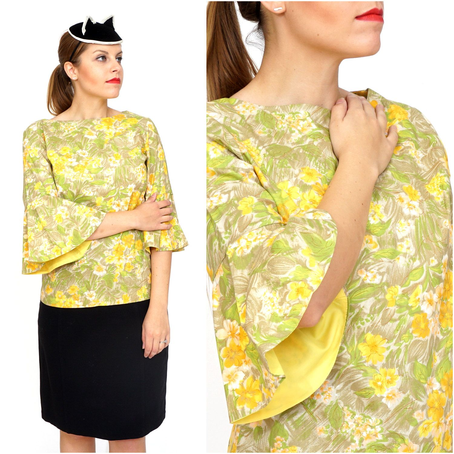Vintage 1960s/70's Yellow Floral Print Top With Bell