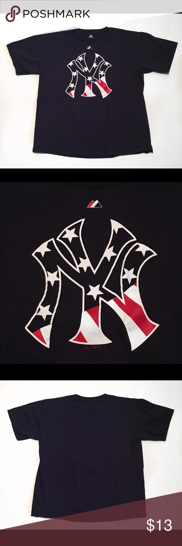Majestic Ny Yankees American Flag Logo T Shirt Awesome Majestic Ny Yankee S American Flag Logo Size Large In G Majestic Shirts American Flag Shirt Tshirt Logo