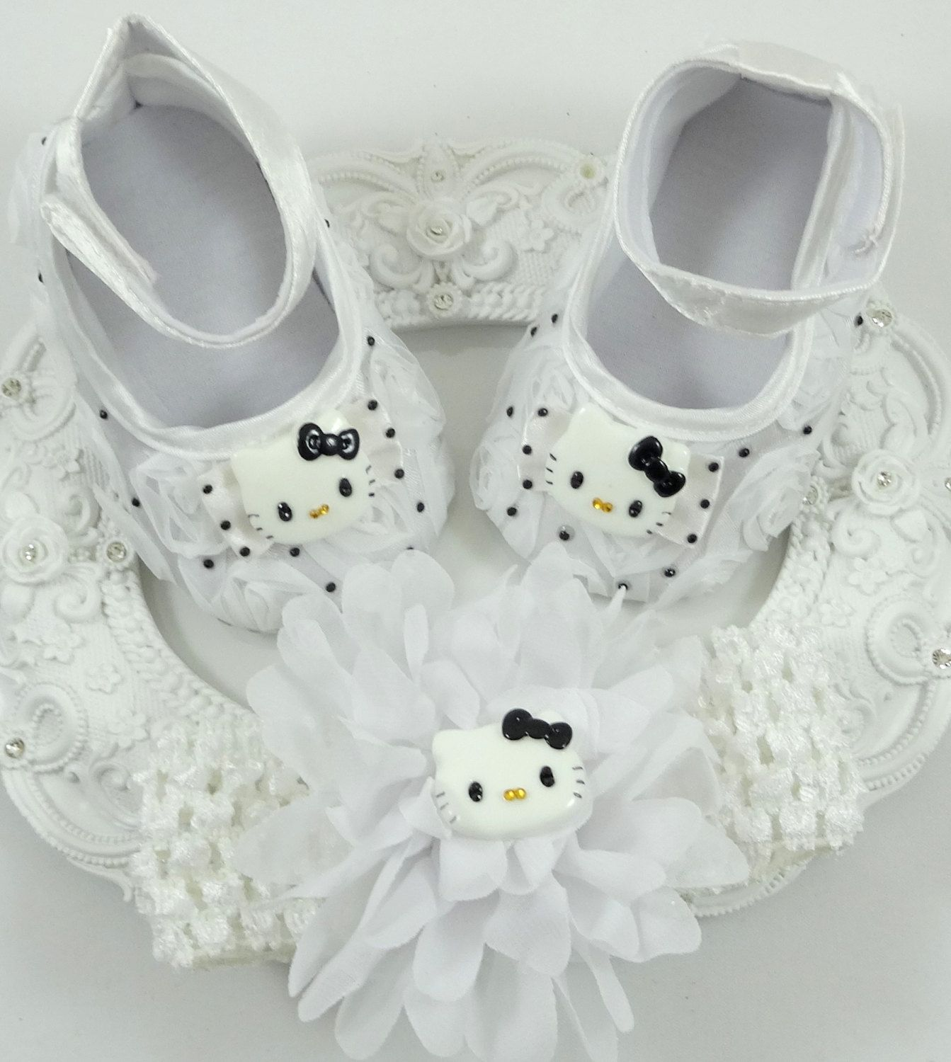 Baby Girl Crib Shoes and Headband Set Newborn Baby Girl Shoes Baby