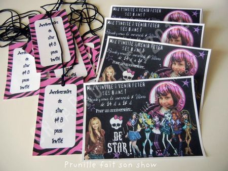 pop star birthday a little monster high too invites and guests pass - Les Monster High