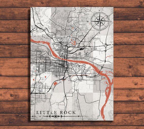 LITTLE ROCK AR Canvas Print Arkansas Vintage By NatalyBorichArt - Little rock arkansas on us map
