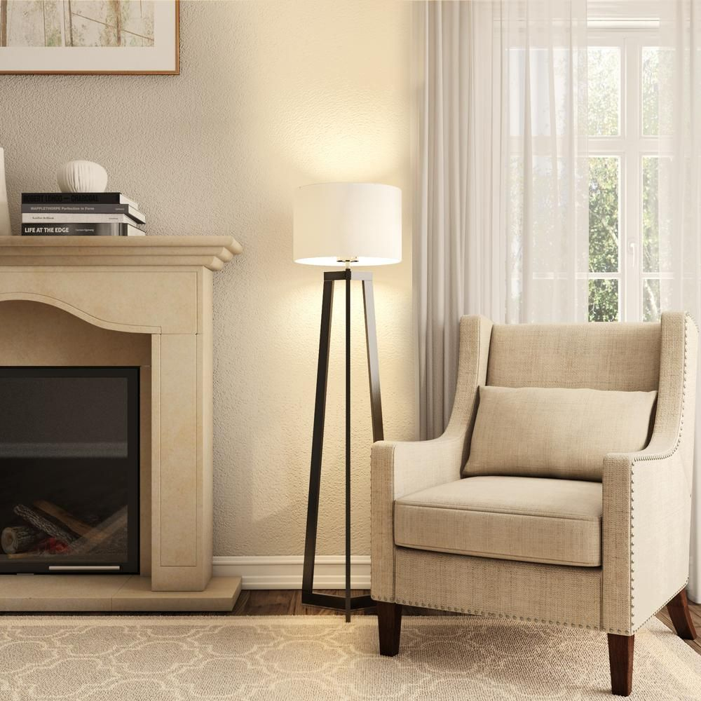 Alsy 58 In Black Tripod Floor Lamp With Shade 19226 001 The Home Depot Bronze Floor Lamp