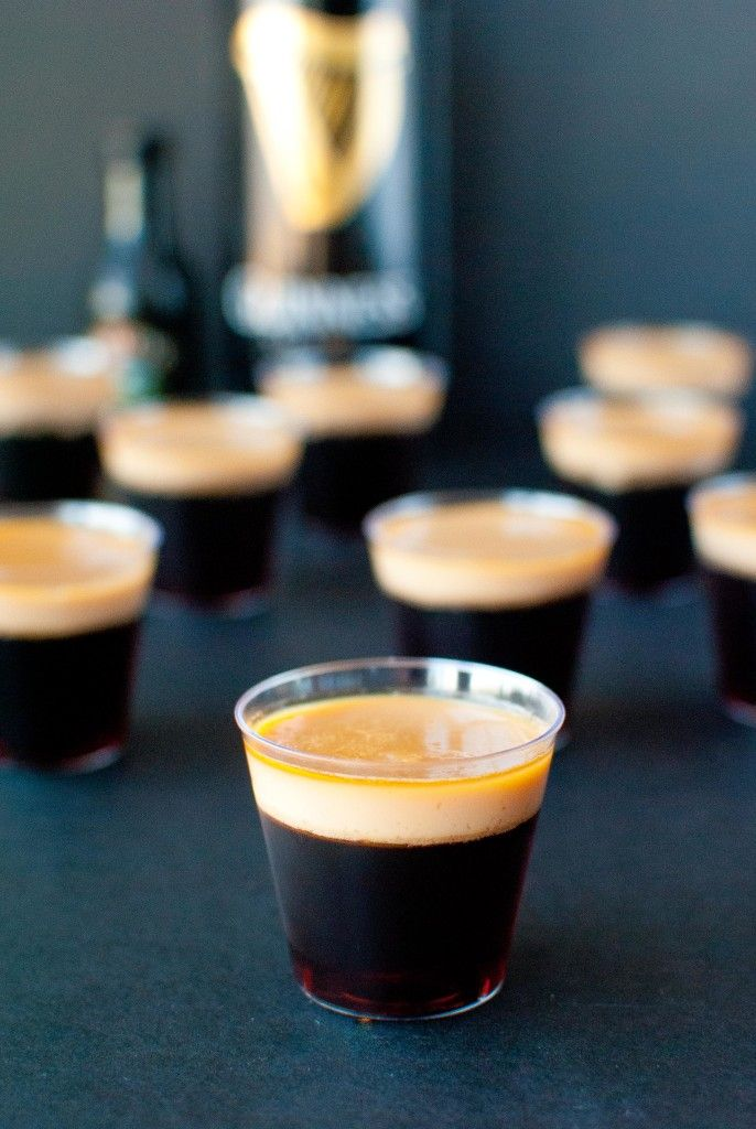 Baby Guinness Jello Shots  for Saint Patrick's Day: Guinness and Bailey's in an easy-to-eat shot perfect for St. Patrick's Day shenanigans.